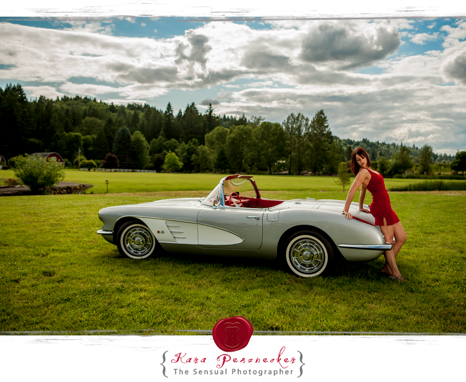 Portland Boudoir | Kara Pesznecker - The Sensual Photographer | Little red dress and classic car