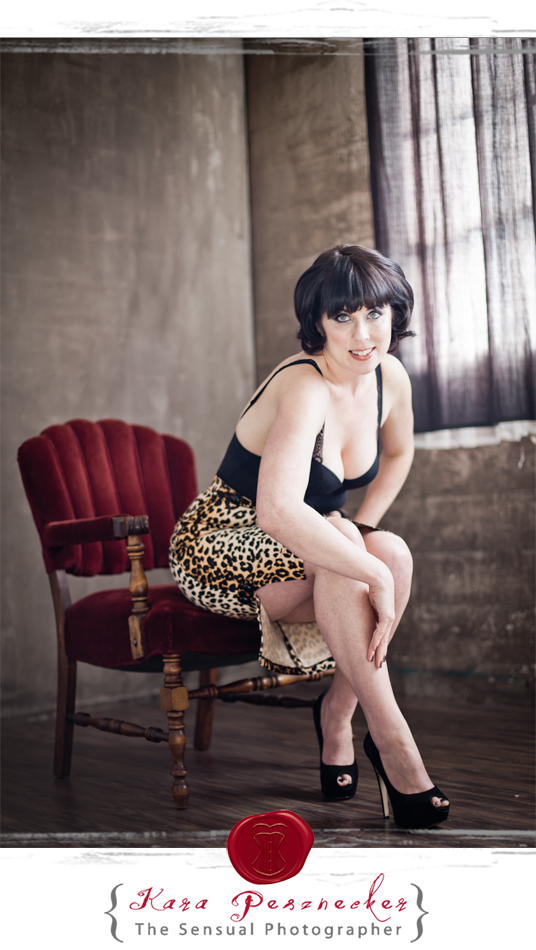 Portland Boudoir Photography | Kara Pesznecker | The Sensual Photographer | Leopard Print Pencil Skirt
